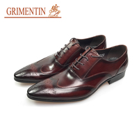 GRIMENTIN italian dress shoes men genuine leather red black lace up business shoes male shoes 2019 hot sale shoes