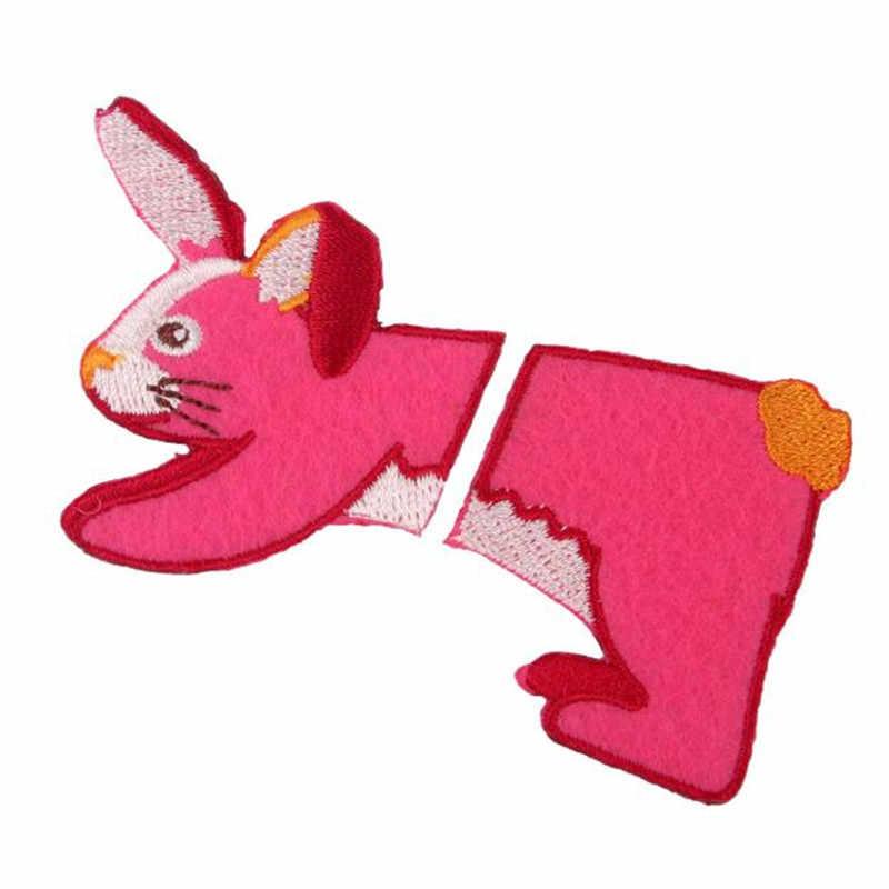 Футболка для девочек Diy вышитый кролик патч животное странные вещи металлическая аппликация патчи для одежды детские дело с ним стикер