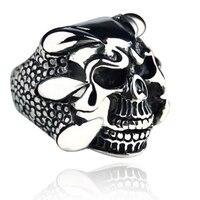 wholesales(10) tide person retro three dimensional skull men ring birthday gift jewelry ring titanium steel domineering ring