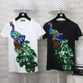 2016 Women Cotton T Shirts Short Sleeve Peacock Sequins Embroidery Tops For Women Plus Size T Shirts Black White Women Tees
