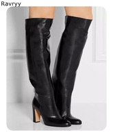 2018 Concise Black Leather Long Boots Woman knee high Boots Square Heel Newest Fashion Autumn Winter Female Shoes Party Dress