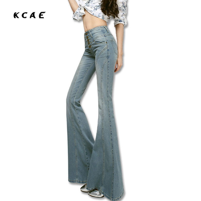 2017 Fashion Jeans Female High Waisted Jeans Bell Bottom Womens Trousers Pants Boot Cut Denim Pants Vintage Wide Leg Flare Jeans velvet boot cut bell bottom pants