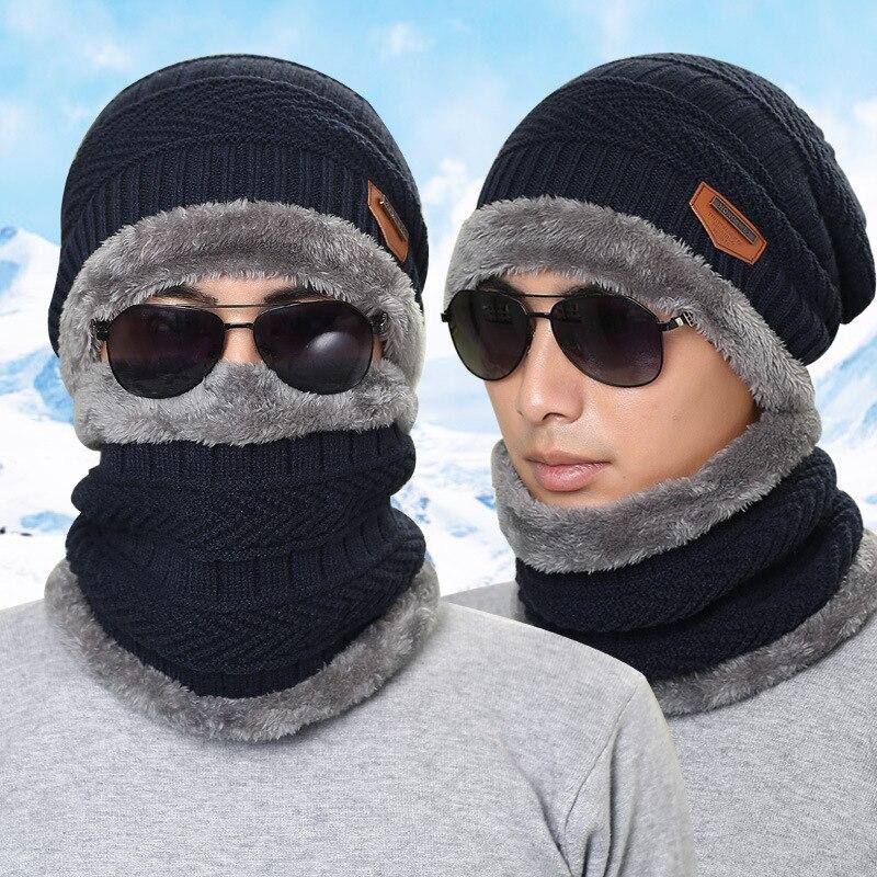 Мужчины Зима Теплая Шляпы Шапочка Hat 2016 Шерсть Мужчины Skullies Шляпы Открытый Спорт Повседневная Руно Шапки Шарф Бесплатная Доставка
