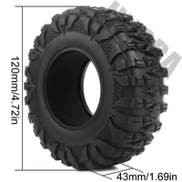INJORA 4PCS 2.2 Rubber Mud Grappler Tires 120*43MM for 1:10 RC Rock Crawler Axial SCX10 SCX10 II 90046 90047 Traxxas TRX-4 TRX4 3