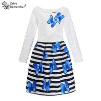 Sonbahar Kış Kız Elbise Uzun Kollu Şerit Kelebek Elbise Prenses Parti Elbise Kız Vestido Gençler için Bebek Kız Giysileri