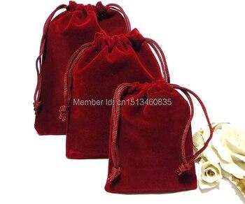 100pcs/lot free shipping small velvet jewelry pouch velvet gift pouch velvet drawstring pouch bag custom logo dry goods bag