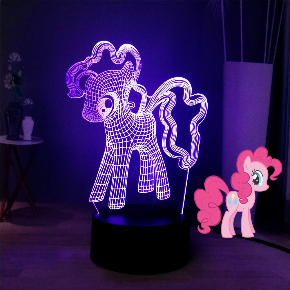 My Little Pony 3D Optical Desk Lamp Cartoon Earth Ponies PinkiePie LED Sleep Night Light Cutie Mark Smile Kids Birthday Gift Toy