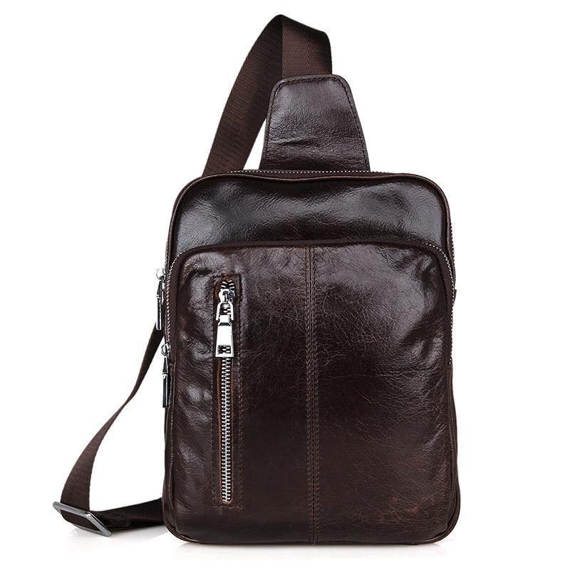 ФОТО Leisure Shoulder Bag Men Oil Wax Genuine Leather Chest Bag Male Vintage England Messenger Bag For Male Brand Leather Bag 5007