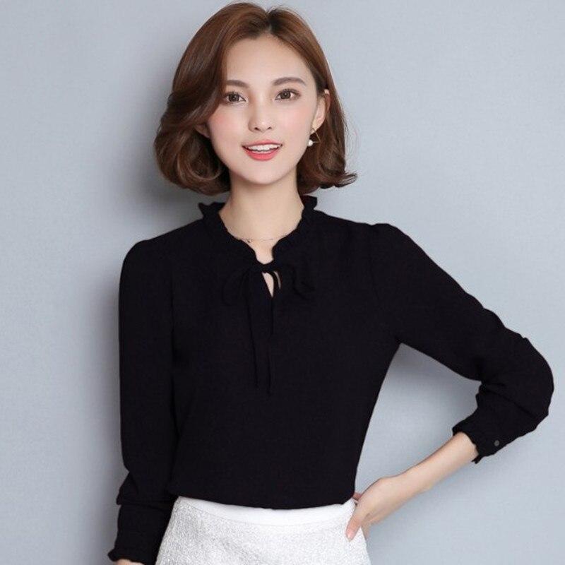 Spring 2019 new han fan elegant bow chiffon shirt women 39 s long sleeved white shirt bottom coat in Blouses amp Shirts from Women 39 s Clothing