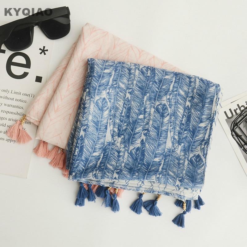 Designer Scarf 2019 Mori Girls Spring Autumn Winter Japanese Style Sweet Fresh Long Blue Pink Beading Tassels Scarves