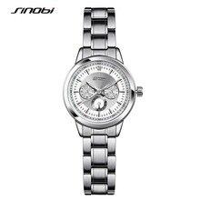 SINOBI 2017 Mulheres Aço Inoxidável Relógio de Quartzo Horas de Relógio de Negócios Senhoras Nova Moda Casual Relógios Relogio feminino F39