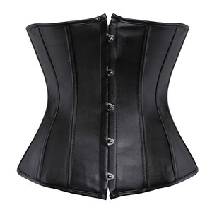 Image 2 - Sapubonva pu underbust corset leather black synthetic gothic punk waist cincher sexy cupless corset bustier top ladies party
