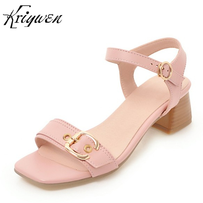 WOMEN CAUSAL SANDALS SUMMER NEW ARRIVALS BUCKLE STRAP WOMAN PARTY SHOES PINK BLUE CHUNKY HEELS SANDALS Zapatos Mujer Size 34-43
