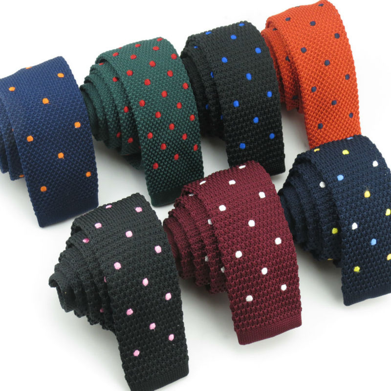 (1 Pieces/lot) Men's Many Embroidered Dot Design Knitted Tie Han Edition Big Boys Fashion Flat Necktie FREE SHIPPING