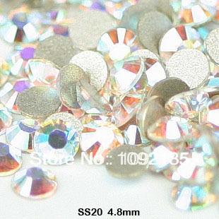 Frete grátis! Aaa + SS20 1440 unidades/pacote 4.6 - 4.8 mm cristal AB strass costas retas strass flatback