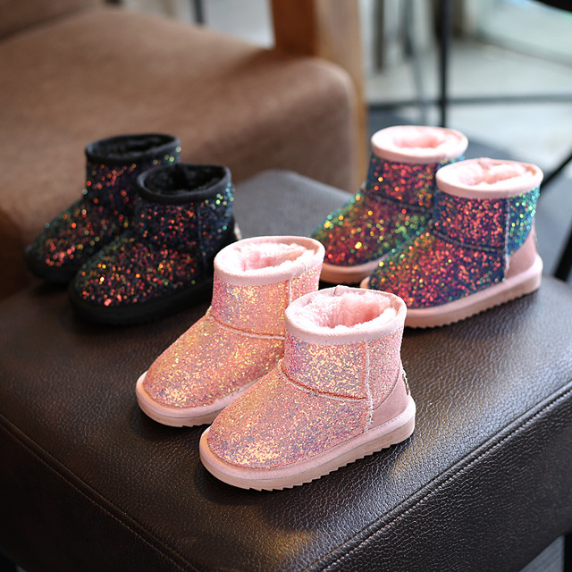 Freezing Cold Winter Children Snow Boots Sequined Girls Plush Snow Boots  Girls Casual Boots Cotton Padded Kids Martin Boots 87052987617c