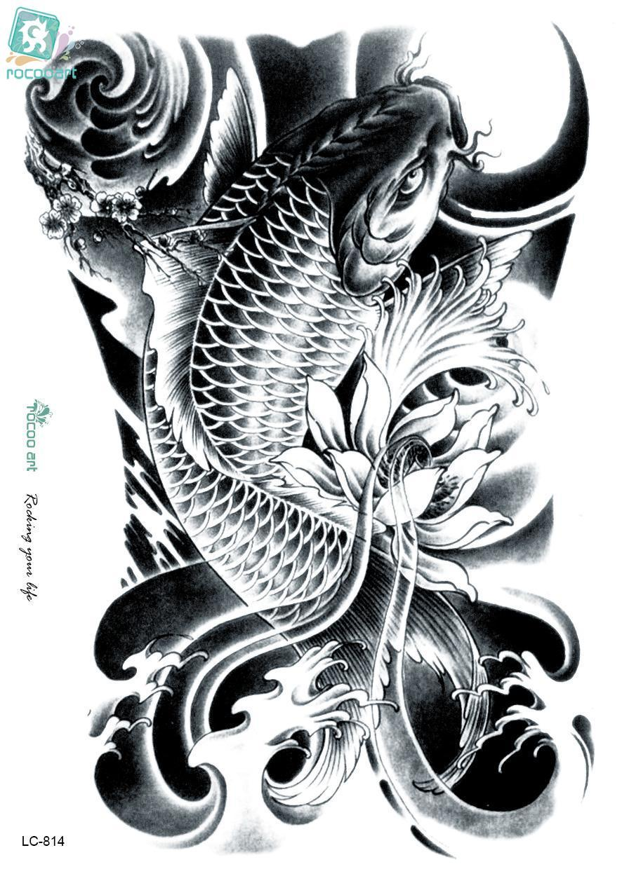 Rocooart LC2814 2115 Cm 3D Tatoo Sticker Sketsa Hitam Emas Ikan