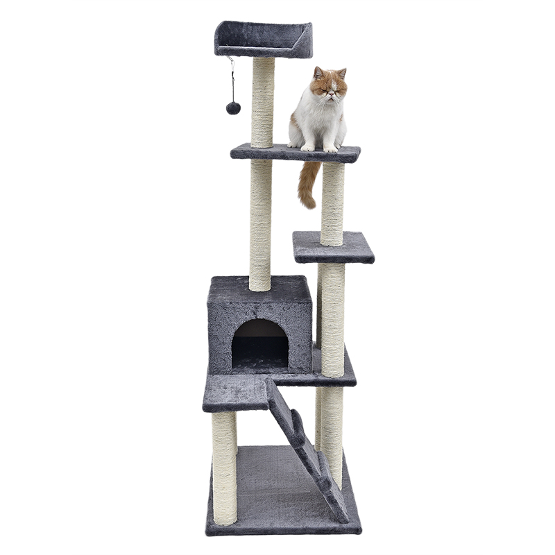 H157cm Cat Climbing Furniture Toy with Ball for Drinking Cat Solid Durable Scratching Post with Funny Ball House for Cats Kitten