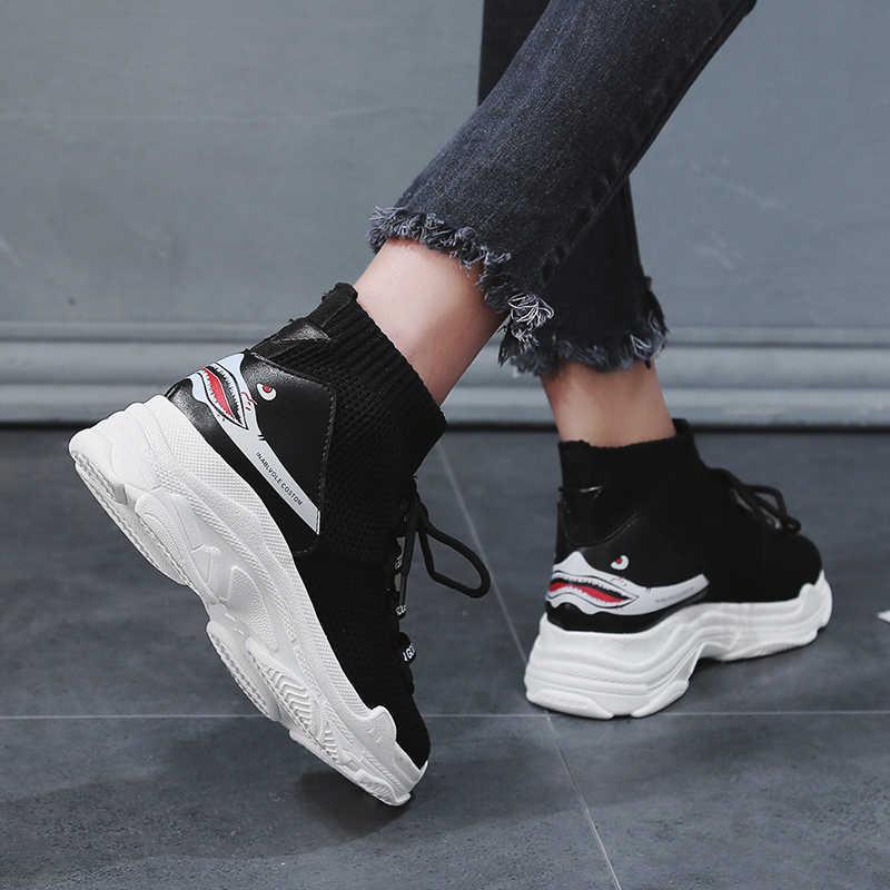 Köpekbalığı Totem erkek spor ayakkabı yüksekliği artan koşu ayakkabıları adam siyah beyaz nefes örgü spor ayakkabı erkek yüksek Top makosen ayakkabı