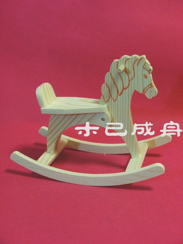 1 6 BJD Doll rocking horse hand assembled DIY wooden 3D Trojan rocking horse toy ornaments