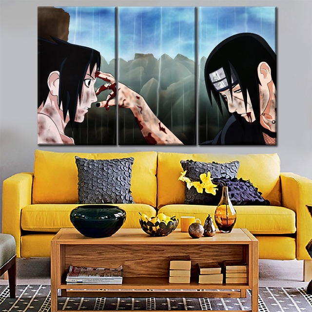 Modern Canvas Painting Frame Print Type 1 Pcs Itachi Uchiha Sasuke Picture Home Wall Art Naruto Poster