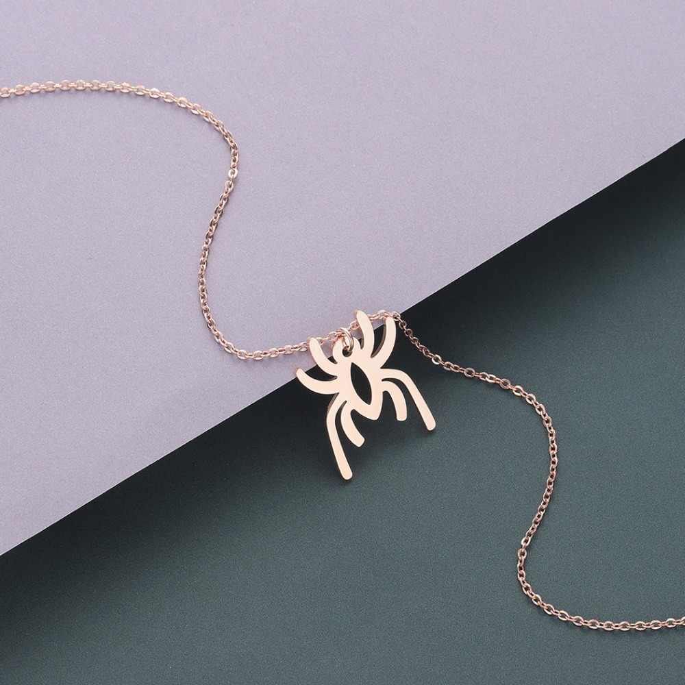 チャンドラーステンレス鋼クモのための男性の女性ハロウィーンパーティーの装飾のギフトヒップホップ動物ネックレス 45 チェーンチョーカー