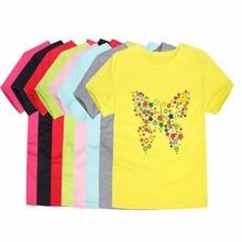 7a370db1131ff8 2018 lato Brand New dziecko dziewczyny T shirty dla dzieci motyl kwiat  koszulki z krótkim rękawem