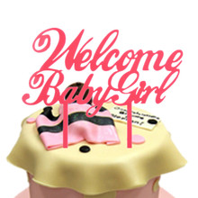 Pink Welcome Baby Girl Birthday Cake Flags Acrylic Happy Toppers Newborn Babys Party Decor