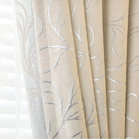 New Leaves Chenille Jacquard Blinds Fabric Window Curtain GIGIZAZA Silver Black Out Custom Size Shade European