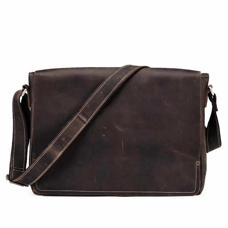 teemzone Vintage Men Crazy Horse Leather Briefcase Handbag Messenger Shoulder Laptop Bag Flap Pocket Messenger Travel Bag J30 hot selling rare crazy horse leather men s briefcase laptop bag travel bag big size 16 5 7028r