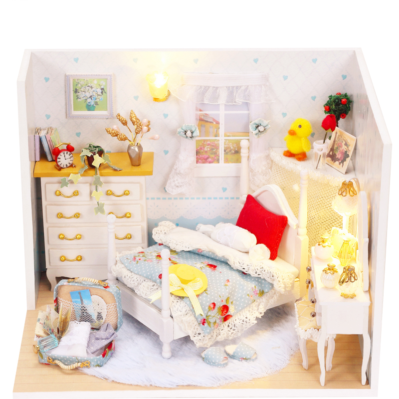Elegant DIY Doll House Miniature With Furnitures LED 3D Wooden Creative Handmade Dollhouse Gift Children Lovely Princess Q001 #D
