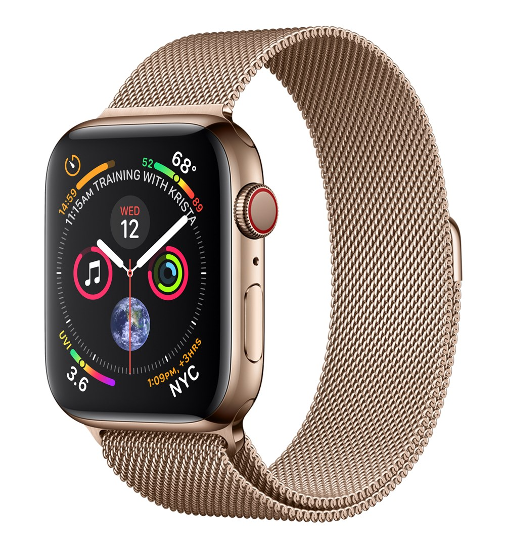 Apple Watch Watch Series 4, OLED, Touchscreen, GPS (satellite), Mobile, 47.9 g, Gold
