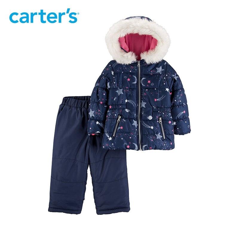 Carters пальто для девочек комплект на осень-зиму Толстая теплая куртка с капюшоном и длинными рукавами детская одежда CL2187S1/CL218GS1/CL2187S2