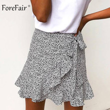 fd07eaf81 Forefair Floral Mini Skirt High Waist Lace Up Sexy Short Beach Casual Boho  Retro Print A