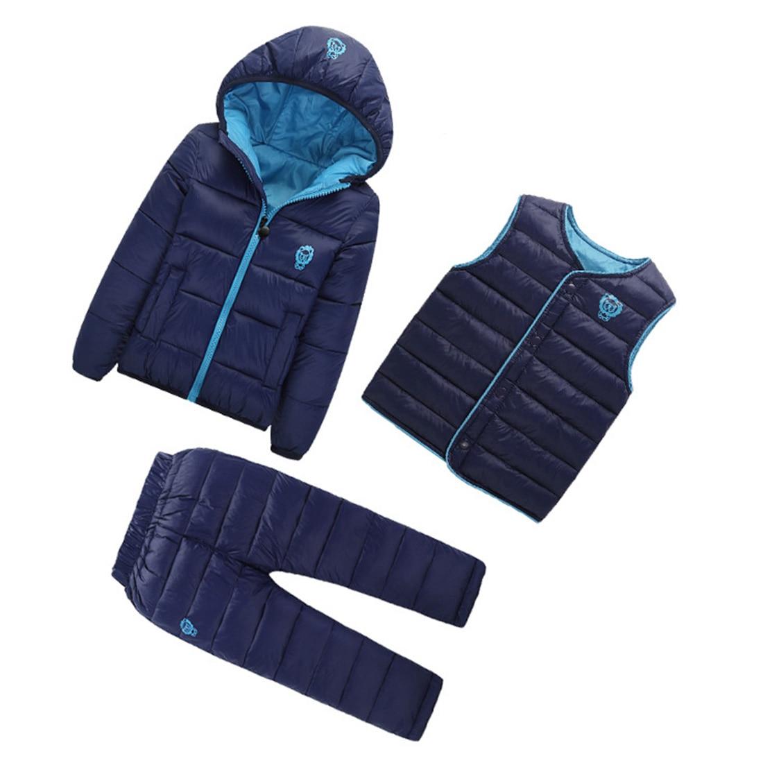 3 Pcs Lot Winter Baby Girls Boys Clothes Sets Children Down Cotton padded Coat 6 Colors 6 Size
