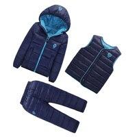 3 Pcs Lot Winter Baby Girls Boys Clothes Sets Children Down Cotton Padded Coat Royal Blue