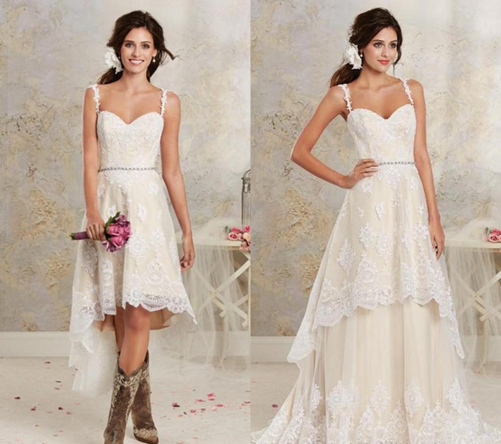 Us 101 5 30 Off Two Styles Lace Country Wedding Dresses High Low Short Bridal Dresses And Floor Length Multi Layers Garden Bohemian Wedding Gown In