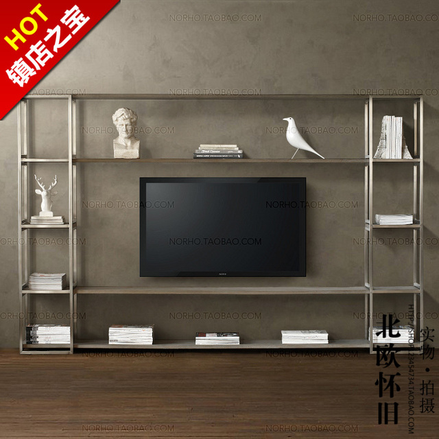 Nordic IKEA TV cabinet retro wood to do the old wrought iron mash wall display cabinet & Nordic IKEA TV cabinet retro wood to do the old wrought iron mash ...