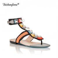 2018 Women Summer Shoes casual flat Sandals Women Ankle strap genuine leather fashion women shoes Sexy party Women sandals new