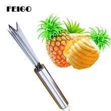 FEIGO 1Pcs Stainless Steel Fruit Pineapple Peeling Pineapple Knife Slicer Peeler Pineapple Fork Fruit Salad Kitchen Gadgets F859 цена 2017