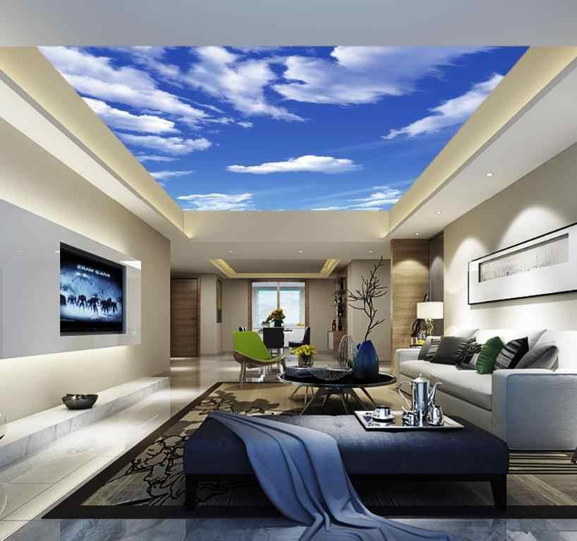 Обои современные голубое небо и белые облака небо потолок росписи обустройство дома гостиная