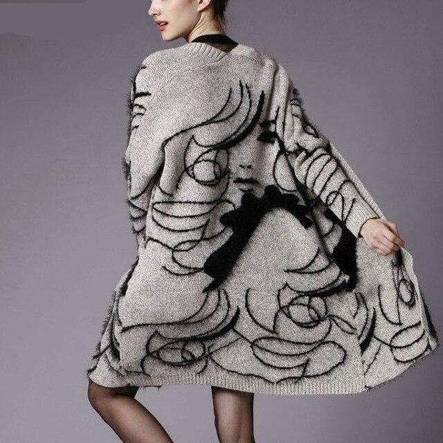 Novo 2016 Outono Inverno Coelho Cabelo Mistura de Malha Cardigans Mulheres imprimir jumper Sweater Cardigan grosso casaco de Grandes Dimensões
