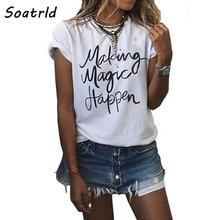 ¡NOVEDAD DE 2017! Camiseta a la moda con estampado de letras para mujer, camisetas de manga corta con cuello redondo, camiseta informal de estilo fino para mujer