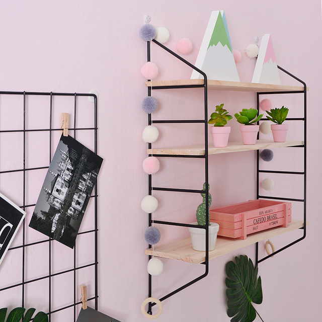 Nordic Style Scandinavian 3PCS Wooden Boards Metal Wall Shelf Nordic Wall Decor Shelf Kids Room Decor Organizer Storage Holders