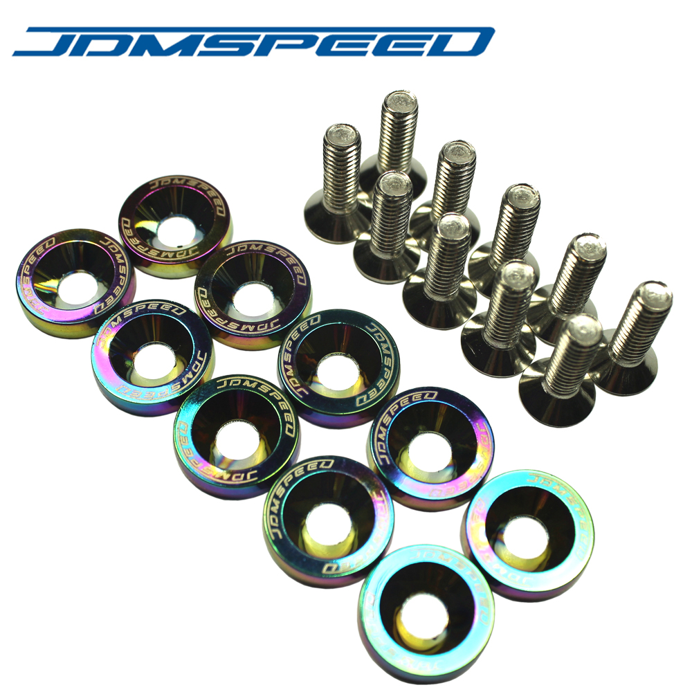 JDMSPEED Billet Aluminum Fender Bumper Washer Engine <font><b>Bay</b></font> Dress Up Kit Neo chrome image