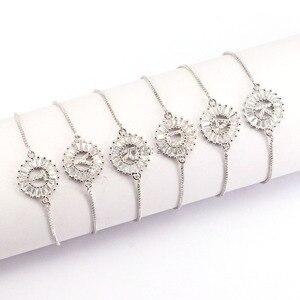 Image 2 - 12Pcs Copper Pave Setting CZ Crystal Letter Bracelets Round Shape Jewelry Adjustable Bracelet For Women