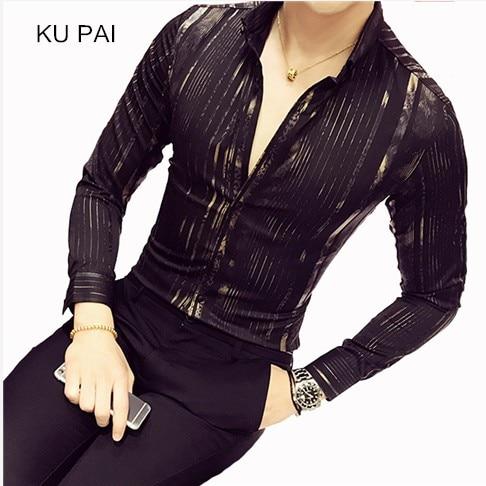 2018 new fashion nightclub shirt long sleeves autumn gentleman casual men Korean version of the shirt city style printing men sh