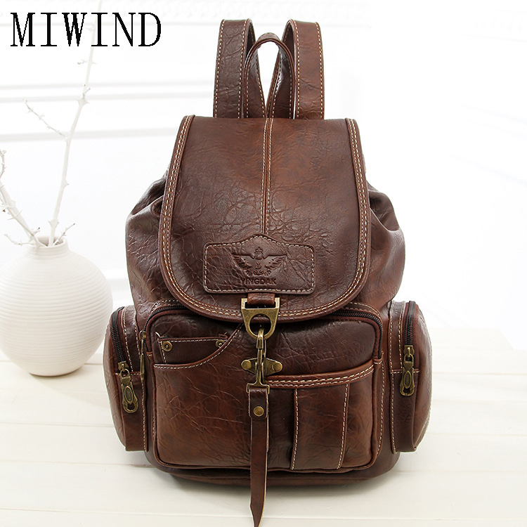 High Quality Vintage Fashion Casual Leather Women Men Backpack for Teenage Girls Fashion Large School Bags mochila TLP465