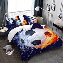 3D Football Bedding Set Water Fire Soccer Ball Print Duvet Cover Set Boys Teens Bedding Cover Twin Full Queen King Bedclothes star print full over bedding set