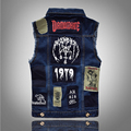 2016 new Men's Denim Vest Brand Jeans Vest Men Cowboy Vest Denim Sleeveless Jacket Motorcycle rider jacket men Jeans coats